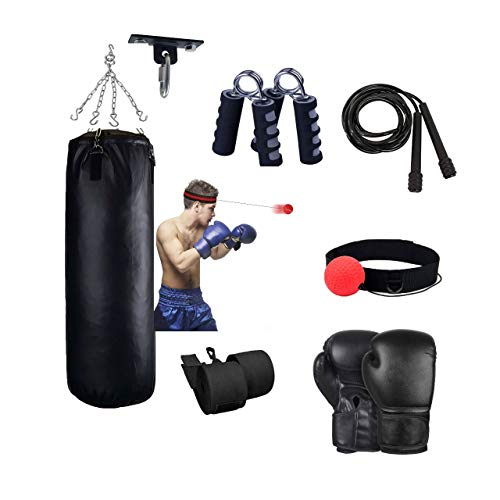 FLAMMA 7pc Punching Bag Set for Training Heavy, Non Tear Synthetic Leather Adult Bag, Ceiling Hook, Boxing Gloves, Chain, Skipping Rope, Hand Wraps, Kickboxing Boxing MMA Muay Thai Training Workout