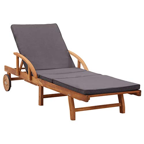 H.BETTER Sun Lounger with Cushion Solid Acacia Wood Daybed 78.7' x 26.7' x 11.8'-32.7' Sun Bed Adjustable Backrest and Footrest Sunlounger Outdoor Patio Chaise Lounge
