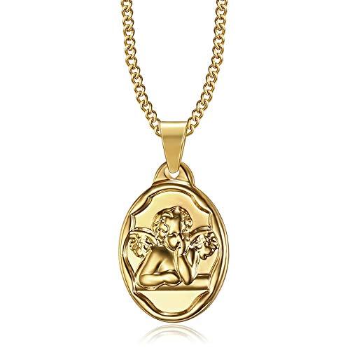 BOBIJOO JEWELRY - Colgante Medalla Ángel Gabriel Bautismo Nacimiento del Niño del Bebé de Acero de Oro Chapado en Oro de la Cadena de