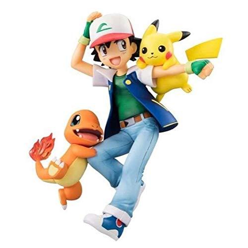 Pokémon Anime ACCIÓN Figura Ash Ketchum con Pikachu y Charmander Figuras de PVC Cabally Modelo de colección Estatua Estatua Toys Adornos de escritorio
