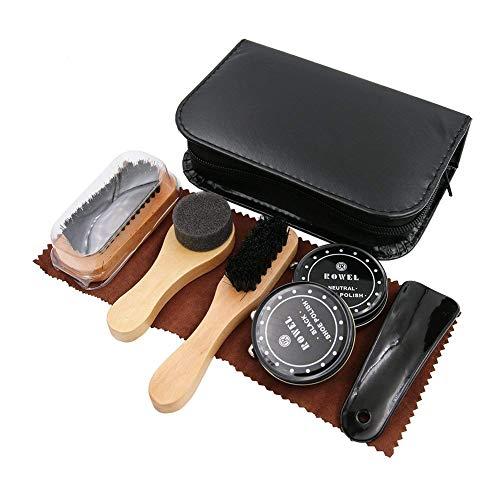 Kits De Cuidado De Zapatos Dee Plus Equipo Para Lustrar Calzado Con Un Elegante Estuche En Cuero Polipiel. Equipo De Viaje Para Lustrado De Calzado De 9 Piezas.