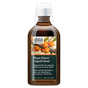Gaia Herbs PlantForce Liquid Iron Supplement 8.5 Ounce - Supports Healthy Iron and Energy Levels Great-Tasting Vegetarian Herbal Formula  Packaging May Vary