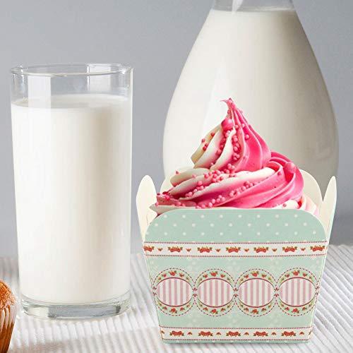banapoy Práctico Papel de Revestimiento para Magdalenas, Taza de Fundas para Muffins de fácil Uso, Grado alimenticio para Hornear cumpleaños(Fresh Rose)