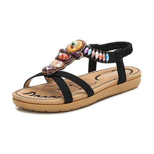 Women Sandals Bohème Sandales Femmes Grande Taille Confortable Décontracté Sandales Couleur Diamant Plat Sandales Femmes Confortables, Black, 36