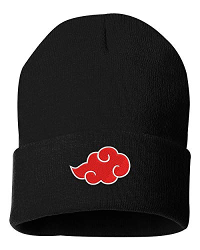 TOP LEVEL APPAREL Akatsuki Cloud Logo Embroidered Cuffed Knit Winter Unisex Beanie Black