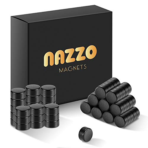 NAZZO Round Magnets Small, Neodymium Disc Magnets, Rare Earth Magnets for Fridge, Whiteboard, Craft, Hobby and Office, Tiny Ceramic Magnets, 6x3mm 70pcs, Black