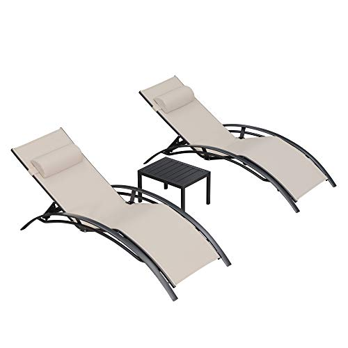 PURPLE LEAF Patio Chaise Lounge Sets 3 Pieces Outdoor Lounge Chair Sunbathing Chair with Headrest and Table for All Weather, Beige