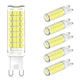 G9 LED Bulb Dimmable, Daylight White 6000K, 60W Halogen Replacement, 6W G9 Base LED Bulbs, AC 120V, G9 LED Light Bulb for Crystal Chandelier, 520LM, CRI85, No Flicker, 6 Pack, CHEERBEE