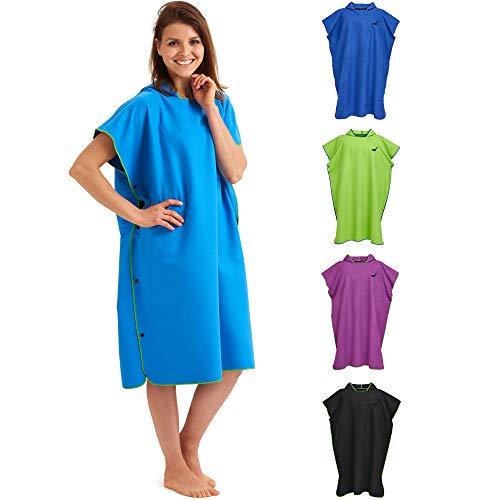Fit-Flip Umziehhilfe, Surf Poncho, Kapuzenhandtuch, Poncho zum umziehen, Tuch mit Kapuze, Umkleidemantel – Größe L, blau/grün