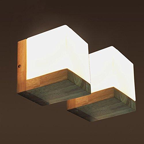 Japanse LED Wall Lamps, Creative vierkante houten Glass verlichting decoratie Reading Light Opknoping Lamp Mini Simple Boerderij Corridor Eettafel Kleine wandkandelaar (Color : 2 pcs)