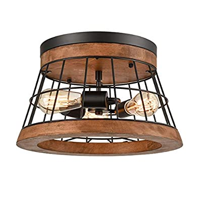 Farmhouse Wood Round Ceiling Light Rustic Drum Flush Mount Lighting Fixture Brown Finished Oak Wood