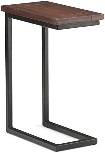 Best Simpli Home Skyler Solid Mango Wood and Metal 18 inch wide Rectangle Industrial C Side Table in Dark
