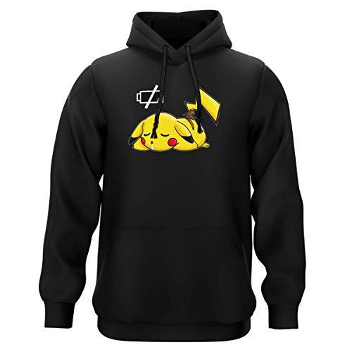 Okiwoki Sweat-Shirt à Capuche Noir Parodie Pokémon - Pikachu - Batterie à Plat ! (Sweatshirt de qualité Premium de Taille M - imprimé en France)