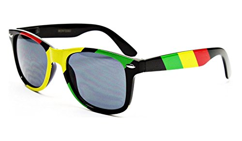 Dweebzilla Rasta Stripes Square Sunglasses Jamaican Colors, Black, Green, Yellow, Red, One Size Fits Most