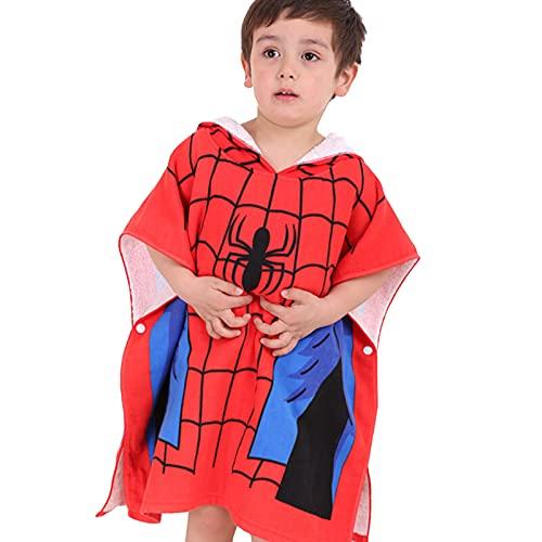 MIAOXI Spiderman Capitán América Toalla con Capucha para Niños Toalla De Baño 100% Algodón Toalla De Playa Albornoz Suave,Spiderman-60 * 120cm
