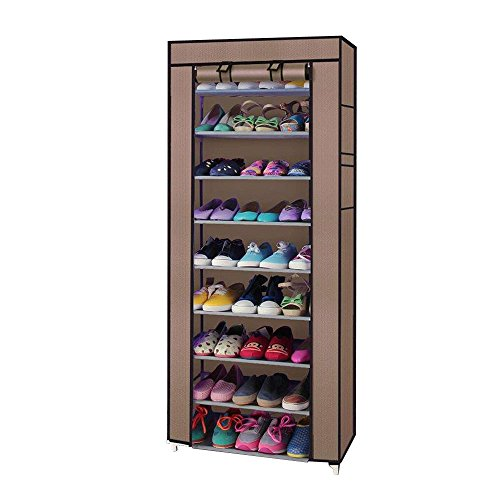 MallMall 10 Tiers Shoe Rack with Dustproof Cover Closet ,30-Pair Shoes Rack Storage Cabinet...
