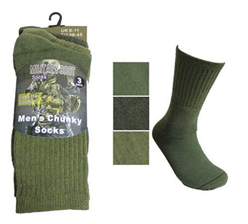 3 pares de calcetines de botas para hombre, diseño de patrulla verde militar