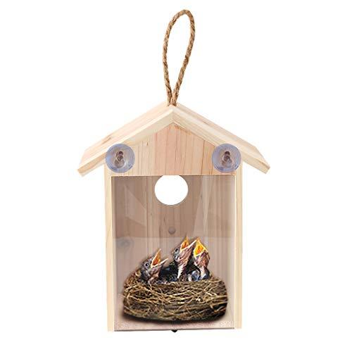 Rameng Nichoir à Oiseaux en Bois à Suspendre Maison d'oiseaux avec 2 Ventouse Décoration De La Maison