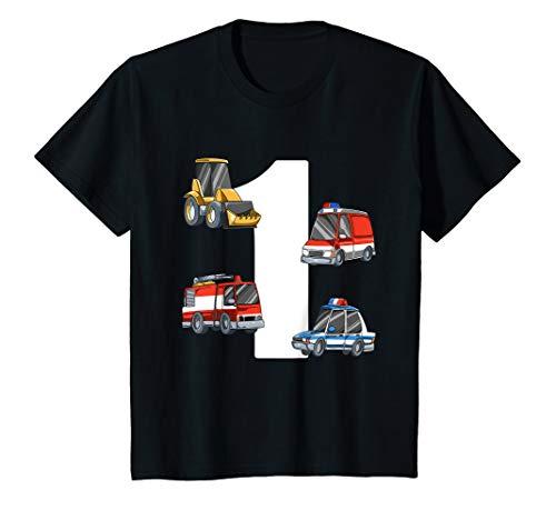 Kinder Rettungswagen und Bagger - 1 Jahre Kindergeburtstag T-Shirt