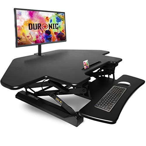 Duronic DM05D5 Estación de Trabajo para Monitor con Altura Ajustable de 15 a 50 cm, Superficie de 66 x 120 cm – Mesa para Trabajar de pie y Sentado