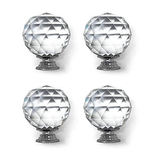 Isaac Jacobs - Juego de 4 pomos de cristal con forma de bola redonda (53 mm), pomos de armario con tornillos, tiradores de cajón,...