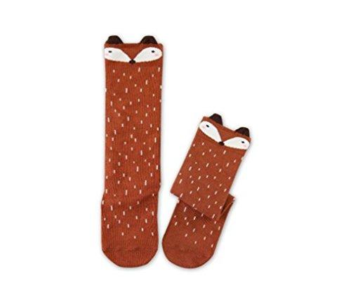 ILOVEDIY 1 Paar Kinder Mädchen Fuchs Muster Knee High Socks Strümpfe (0-1 Jahre, Braun)