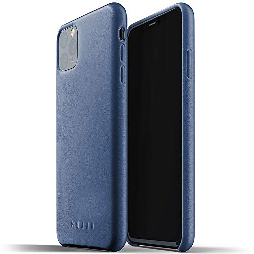 Mujjo Full Leather Case for Apple iPhone 11 Pro Max | Premium Soft Supple Leather, Unique Natural Aging Effect | Leather Wrapped, Super Slim (Monaco Blue)