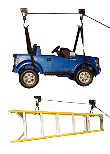 ABN Ceiling Mount Hoist - 2 Looped Straps, 2 Secure Claws and Install Hardware, Easy 100-Pound...