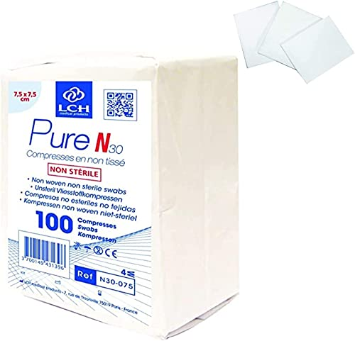 LPM - 10 sachets de 100 compresses non tissée non stérile 7,5 x 7,5 cm