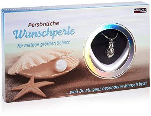 Brubaker Du bist mein Schatz Wunschperle - Collar con símbolo de infinito como colgante + concha con perla auténtica como joyas Set de regalo