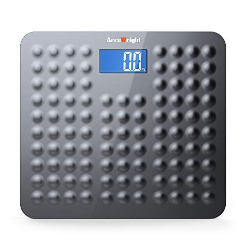 ACCUWEIGHT Báscula de Baño Digital de Alta Medición Precisa con Seguridad Gran Plataforma Antideslizante y Inastillable, 180 kg ✅