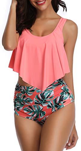 Eomenie Bikini High Waisted Swimsuits for Women Tummy Control Tankini Bathing Suits Two Piece Flounce Swimwear