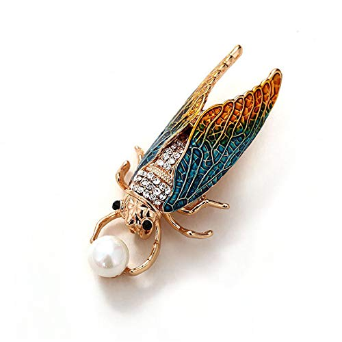 GDYX Broche Insecto Cigarra Esmalte Pin Moda Little Bug Beetle Broche Joyas Damas Broche Joyas Regalos para DamasAzul