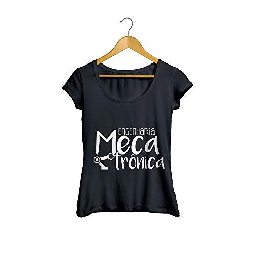 Camiseta Baby Look Engenharia Mecatrônica Feminino Preto Tamanho:M