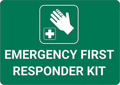 VinMea Warning Metal Sign Emergency First Responder Kit with Icon Landscape 12'x18'