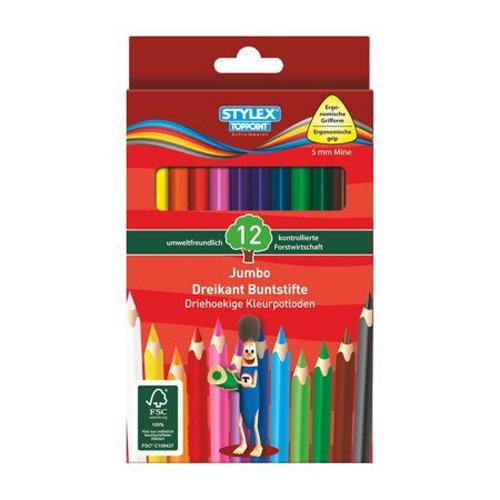 Stylex Schreibwaren 25068 - Buntstifte Jumbo, Dreikant, lang