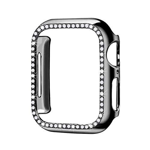 Cubierta del caso del diamante para Apple Watch 5 4 3 2 1 cubierta 44mm 40mm 42mm 38mm para Iwatch cristal protector parachoques
