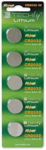 Techly 307063 Batterie a Bottone Litio CR2032 (Set 5 pz)