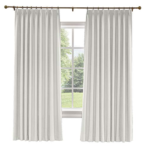 Prim Patio Sliding Door Curtains Linen Room Darkening Thermal Insulated Blackout Pinch Pleat Window Curtain for Living Room, Sand White, 100x84-inch, 1 Panel