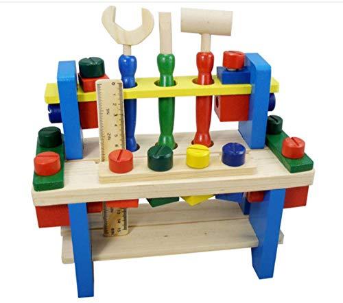 Lalia Werkbank aus Holz für Kinder ab 3 Jahren. 26x26x10cm 100% Holz Holzspielzeug Hammer Werkzeugset Viele Bunte Teile. Für kleine Handwerker. Tolles Geschenk