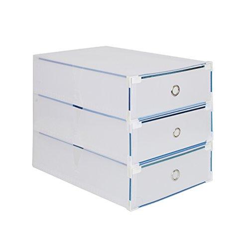 3 x Cajas para Botas Plegables de Plástico, Tipo Cajón, 52 x 30 x 11.5cm, Transparente