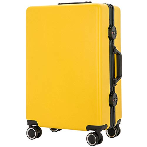Expandable Luggage, Anti-Scratch Fall Resistant Lightweight ABS with Spinner Wheels Suitcase for Adults Tourism Student Vacation-36x24x55cm-yellow