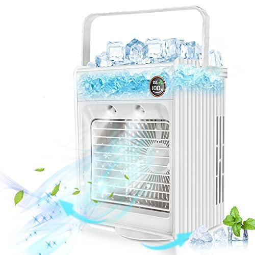Jeteven Condizionatore D aria Mobile, Rotazione di 180° Condizionatori Portatili, Mini Dispositivo di Raffreddamento Dell aria 5 in 1, Refrigerazione, Umidificazione Spray, Aromaterapia, LED