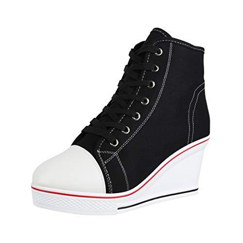 Elara Zapatilla de Deporte Tacón de cuña Unisex Sneaker High Top Chunkyrayan B6986-SP Black-37
