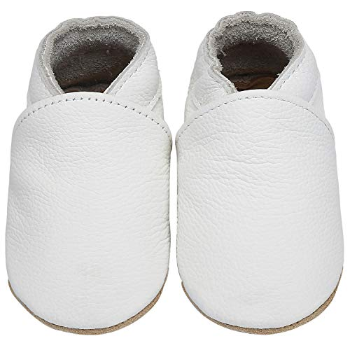 Yavero Kinder Lederschuhe Jungen Weiche Sohle Krabbelschuhe Mädchen Leicht Lauflernschuhe Bequem Babyschuhe, Weiß 6-12 Monate
