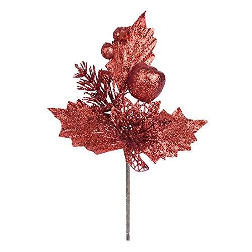 Minyue Decoración de Navidad, plantas artificiales de cereza, flores falsas, para árbol de Navidad, decoración de boda, cumpleaños (2 unidades), color rojo
