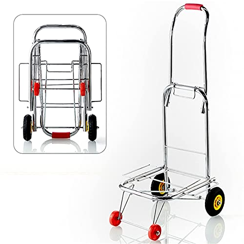 Sack Trolley Folding Lightweight Hand Truck Portable Luggage Cart Can Household Trolley (Color : Silver Size : One Size)