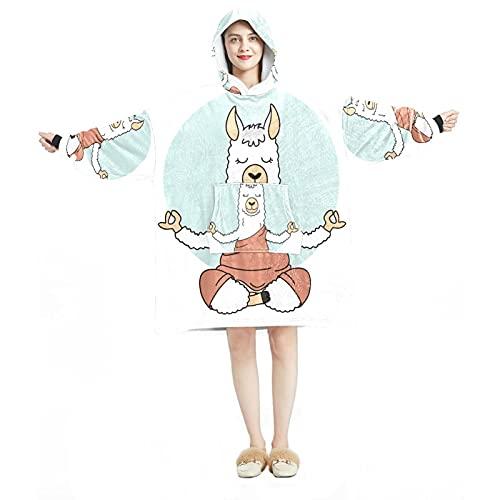 Manta con capucha, informal de microfibra suave, camisón cálido para hombres y mujeres, con diseños de alpaca de animales de yoga
