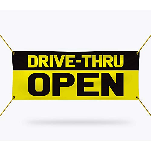 "Drive-Thru Open Banner Sign - 13 oz Heavy Duty Waterproof Drive-Thru Open Vinyl Banner with Metal Grommets, B (24"" x 48"")"