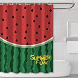 JOOCAR Design Duschvorhang, Sommer-Spaß-Muster, grüne Wassermelonen-Sets rot, wasserdichter Stoff, Badezimmer-Dekor-Set mit Haken